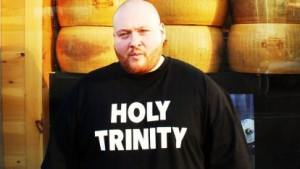"Action Bronson wearing ""Holy Trinity"" t-shirt"