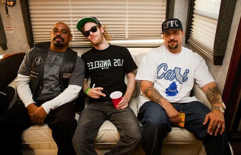 Cypress Hill's B-Real and Sen Dog, along with Rusko backstage. Photo courtesy of Colin Young-Wolff (LA Weekly)