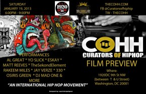 "TODAY (Jan 19th) in DC!! > The Curators of Hip Hop presents second ""Sneak Peek"" Hip Hop showcase [corrected]"